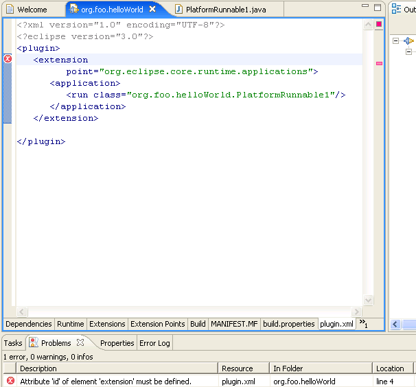 in the manifest editor select the plugin.xml tab as you may need to correct an error about missing id