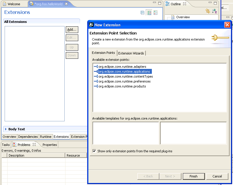 switch to Extensions tab, hit new Extension, select org.eclipse.core.runtime.applications